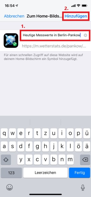 Umbenennung des Shortcuts